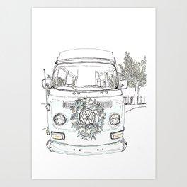 Pen + Ink Vintage Flower Power Art Print
