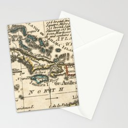 Vintage Map of The Caribbean (1758) Stationery Cards