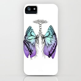 Butterfly Lungs Blue Purple iPhone Case