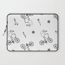 chicken on a bike pattern Laptop Sleeve