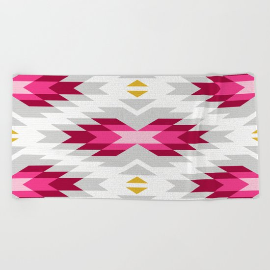 Tribal pattern - grey and pink Beach Towel