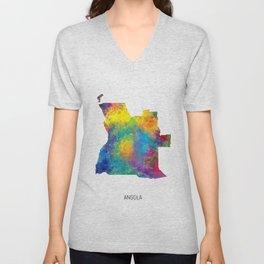 Angola Watercolor Map Unisex V-Neck