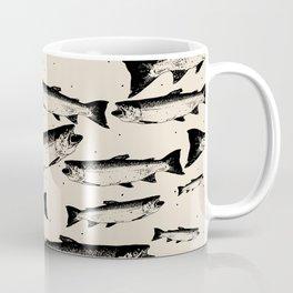 School of Fish Stamp Repeat Pattern Coffee Mug