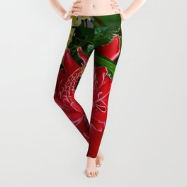 Red Torch Ginger Flower Leggings