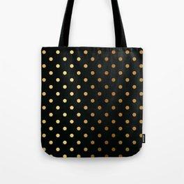 Gold polka dots on black pattern Tote Bag