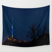 seoul Wall Tapestries featuring Seoul Tower at Night I by Jennifer Stinson