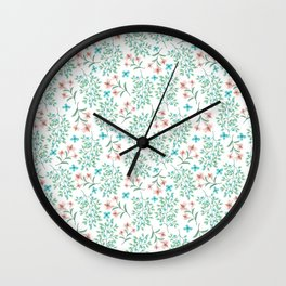 Modern teal pastel coral botanical floral Wall Clock