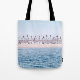 Vintage Newport Beach Print {3 of 4} | Photography Ocean Palm Trees Cool Blue Tropical Summer Sky Tote Bag