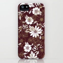 Elegant burgundy white faux gold modern flowers iPhone Case