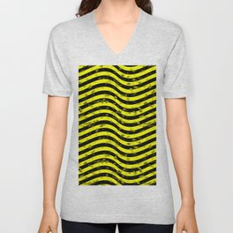 Wiggly Yellow and Black Speckle Pattern Unisex V-Neck