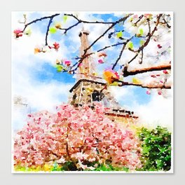 Early Spring by The Eiffel Tower Watercolor  Canvas Print