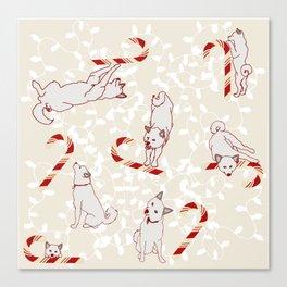 Candy Cane Shiba Inus Canvas Print