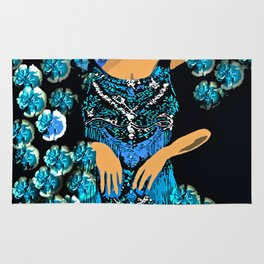 Woman Blue Carnations for the Jazz Singer Rug