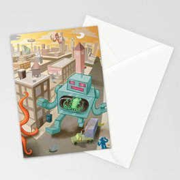 Squid vs Robot Stationery Cards