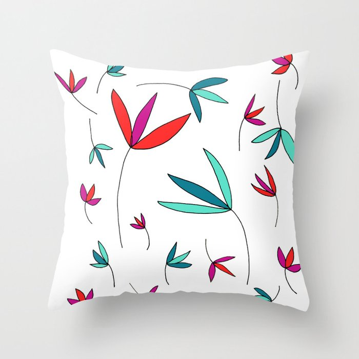 Happy Flowers Drawing by Emma Freeman Designs Throw Pillow