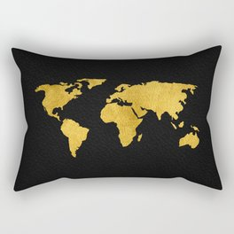 Metallic Gold Foil World Map On Black Rectangular Pillow