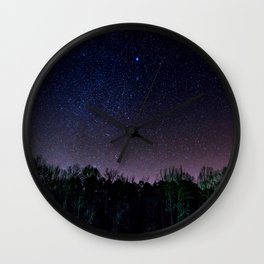 Star Night Sky Purple Hes With Forest Silhouette Wall Clock