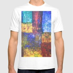blocks of color MEDIUM White Mens Fitted Tee