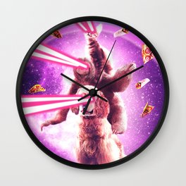 Laser Eyes Space Cat Riding Sloth, Dog - Rainbow Wall Clock