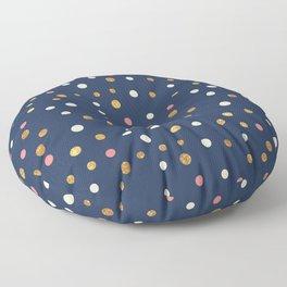 Hipster navy blue faux gold glitter modern polka dots Floor Pillow