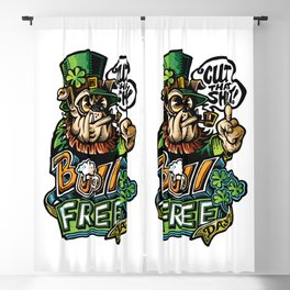 Bull-Free Day | St. Patrick's Day Leprechaun Bulldog Blackout Curtain