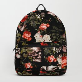 Floral and Skull Dark Pattern Backpack