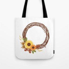 Fall Wreath - Autumn - Sunflowers Tote Bag