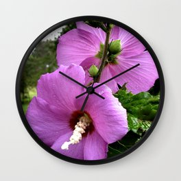 Hibiscus Flowers Back To Back Wall Clock
