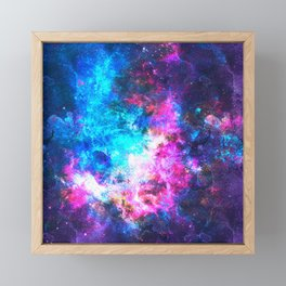 Colorful Watercolor Abstract background. Multicolor psychedelic pink blue neontexture tie dye Framed Mini Art Print