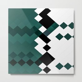 Emerald Green White Black Geometrical Pattern Metal Print