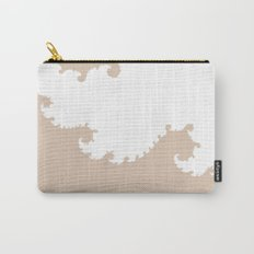 Beige and White Fractal Carry-All Pouch