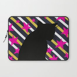Black Cat on Gold Stripes n Pink Stars Laptop Sleeve