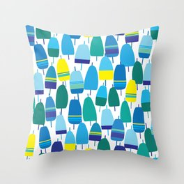Blue Lobster Buoy Pattern Throw Pillow
