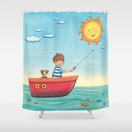 Happy Fishing Day Shower Curtain