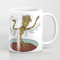 guardians of the galaxy Mugs featuring Guardians of the Galaxy - Dancing Baby GROOT by Teo Hoble
