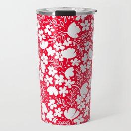 Love Blossoms Pattern White on Red Travel Mug