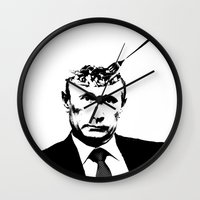 "putin Wall Clocks featuring Vlad ""Poutine"" - Putin Pun Portrait by MattSkinnerArt"