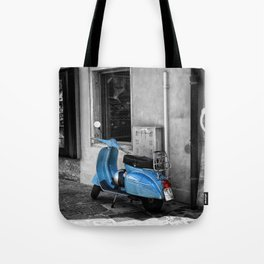 Blue Vespa in Venice Black and White Color Splash Photography Tote Bag