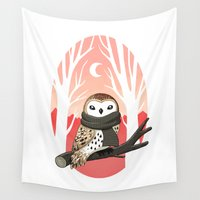 tote Wall Tapestries featuring Winter Owl by Freeminds
