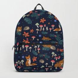 Fox and Hedgehog in Toadstool Woods In Blue Backpack