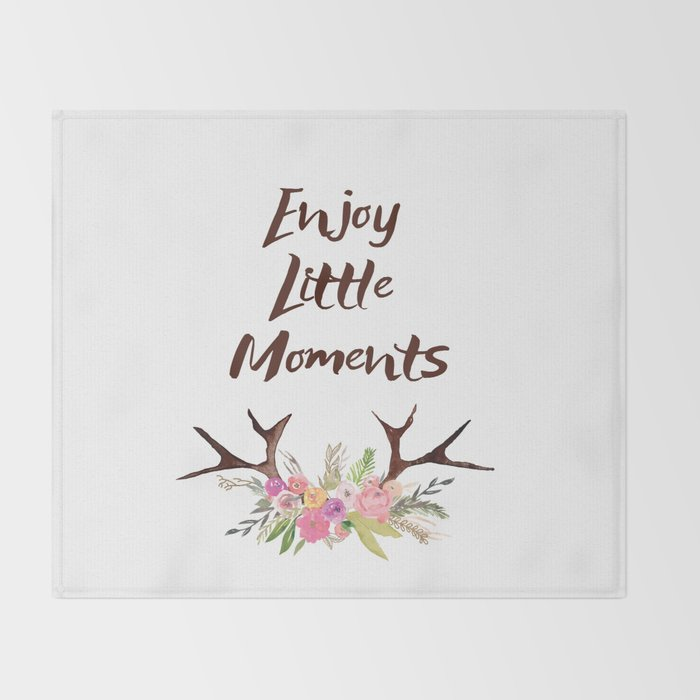 Deer Antlers With Flowers Quotes Inspirational Quote Throw