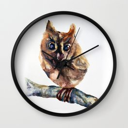 WATERCOLOR BABY OWL WOODLAND ANIMALS NURSERY COLLECTION Wall Clock
