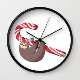 Sloth hanging from the Candy Cane Wall Clock