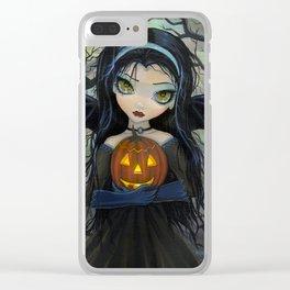 October Woods Cute Vampire holding Pumpkin Gothic Big Eye Art Clear iPhone Case