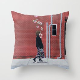 Bubble Girl Throw Pillow