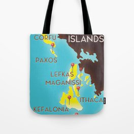 ionian Islands map Tote Bag
