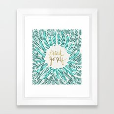 Treat Yo Self – Gold & Turquoise Framed Art Print