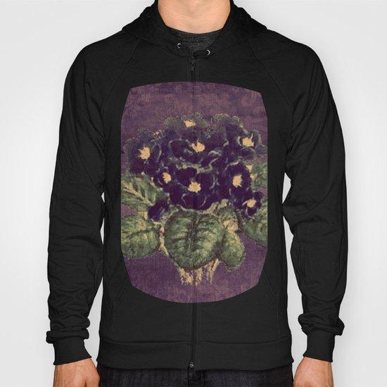 Violettes on vintage purple distressed damask Hoody