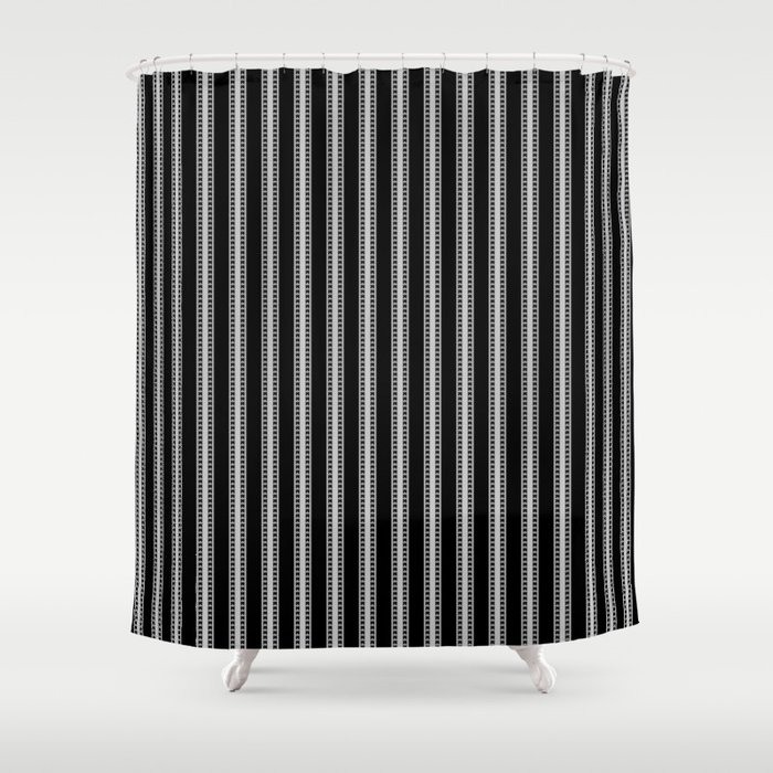 Black And White French Fleur De Lis In Mattress Ticking Stripe Shower Curtain
