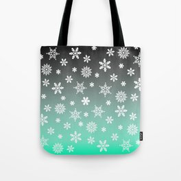 Snow Flurries-Gray/Aqua Ombre Tote Bag